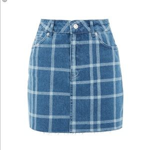 Topshop Check Jean Skirt Size 4